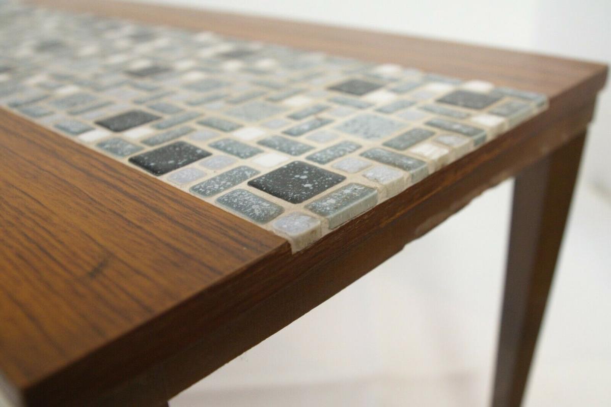 Midcentury Blumenbank Mosaik Bank in Nussbaum Kunststoff Furnier 60er Jahre 10