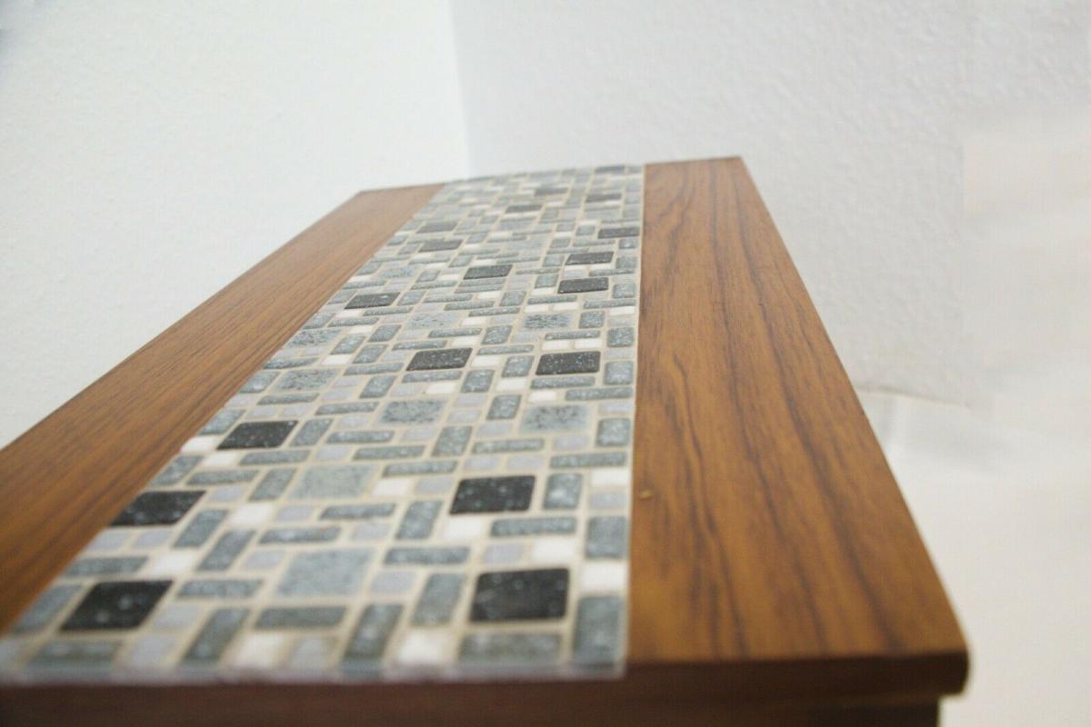 Midcentury Blumenbank Mosaik Bank in Nussbaum Kunststoff Furnier 60er Jahre 3