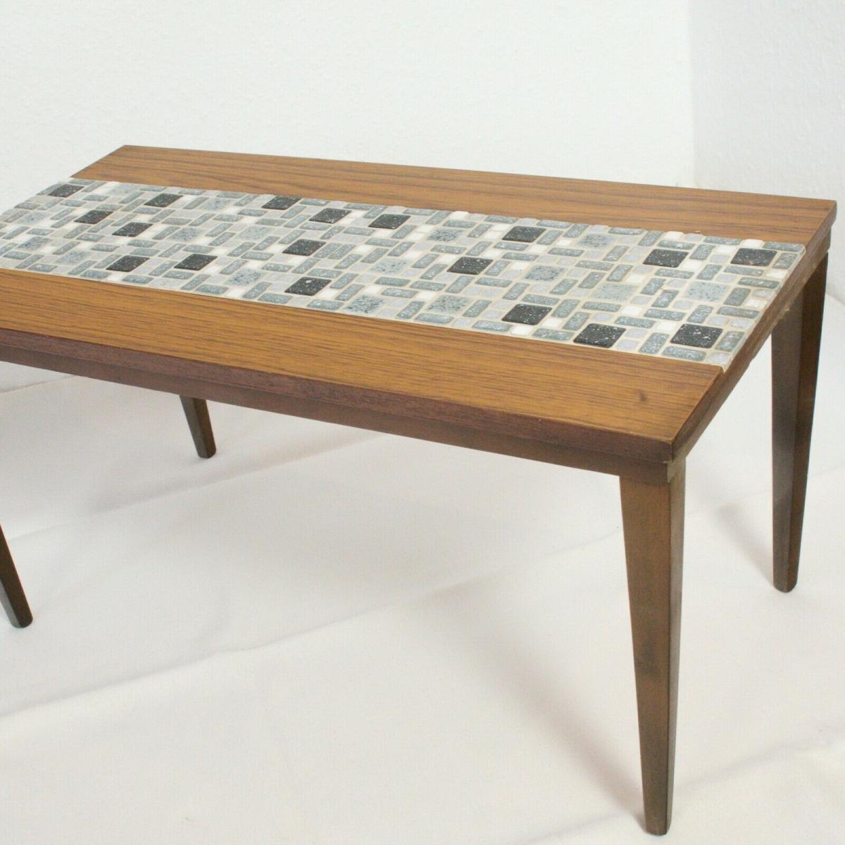 Midcentury blumenbank mosaik bank in nussbaum kunststoff furnier 60er jahre 8