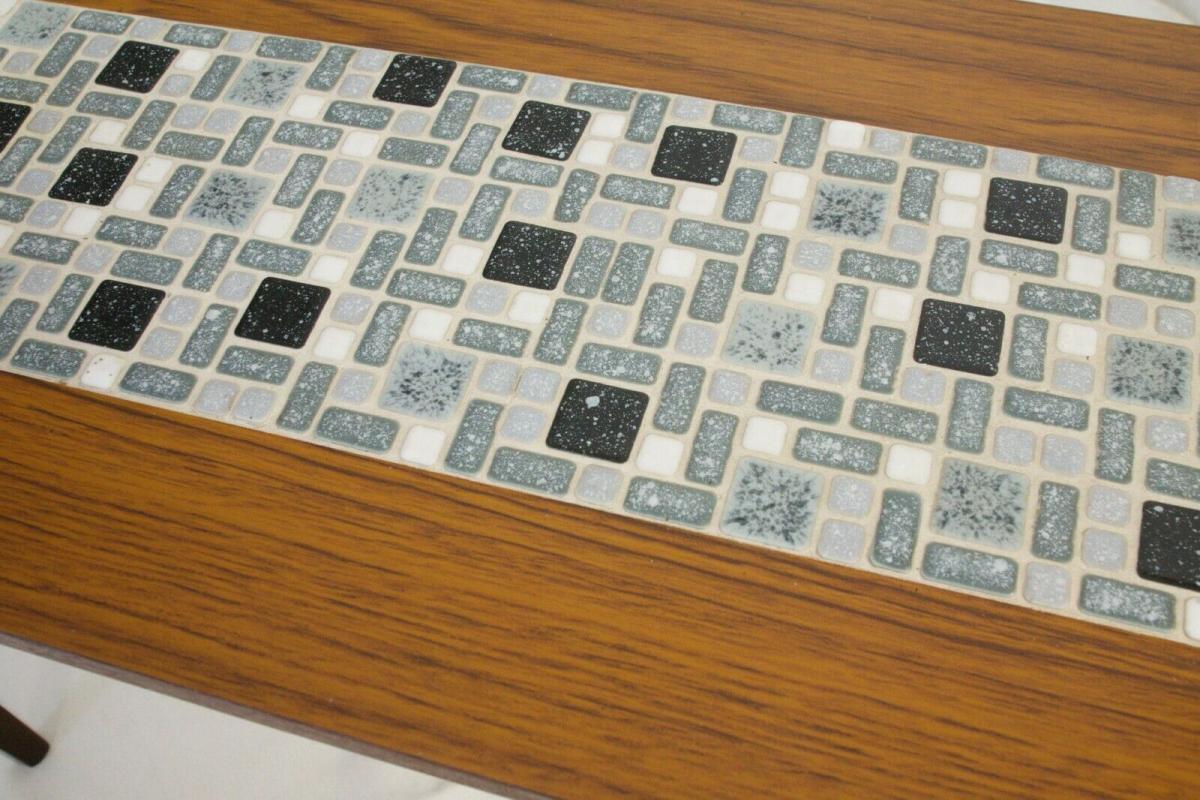 Midcentury Blumenbank Mosaik Bank in Nussbaum Kunststoff Furnier 60er Jahre 9