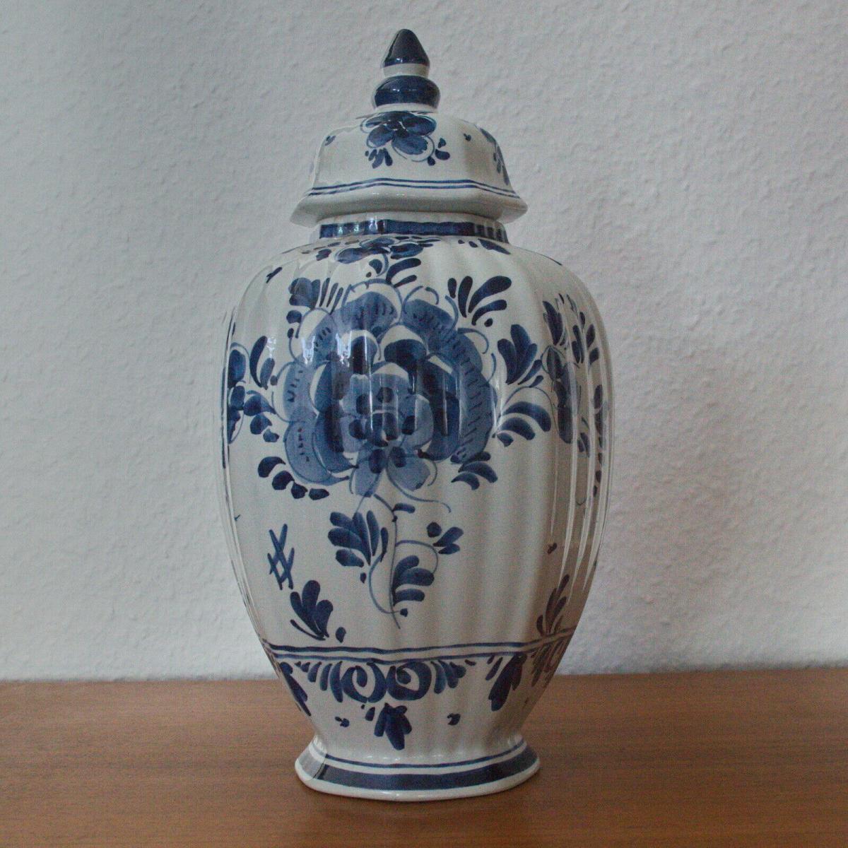 Vintage Vase Urne DELFT Deckelvase #246 Handbemalt C. Delfts 60er Jahre Holland 0