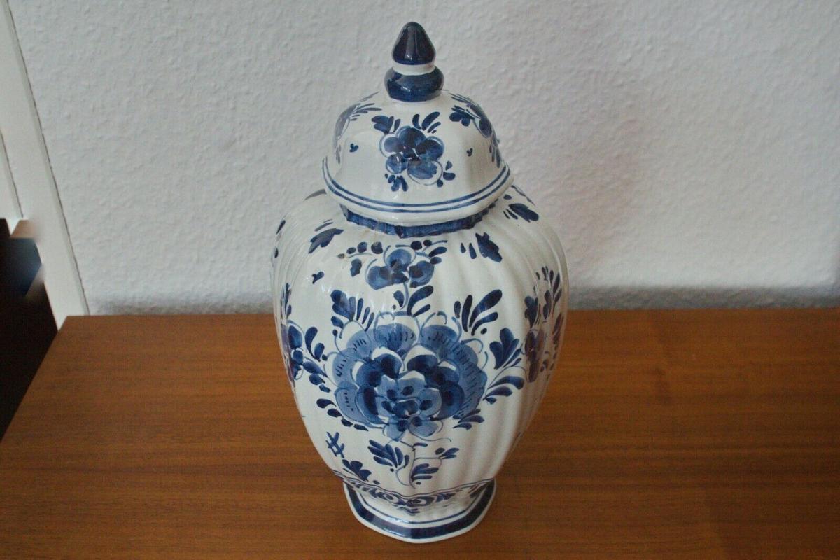 Vintage Vase Urne DELFT Deckelvase #246 Handbemalt C. Delfts 60er Jahre Holland 1