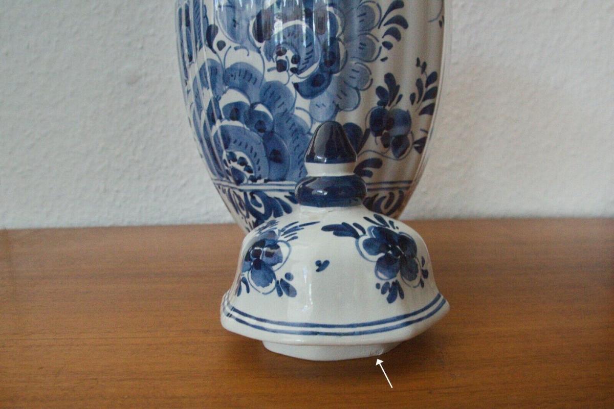 Vintage Vase Urne DELFT Deckelvase #246 Handbemalt C. Delfts 60er Jahre Holland 6