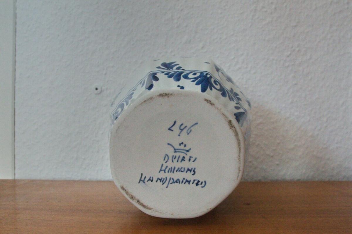 Vintage Vase Urne DELFT Deckelvase #246 Handbemalt C. Delfts 60er Jahre Holland 8