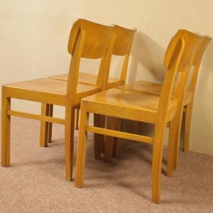 4 Art Deco Holzstühle LÜBKE STÜHLE Stuhl Bauhaus Design mit Linoleum 40er 50er
