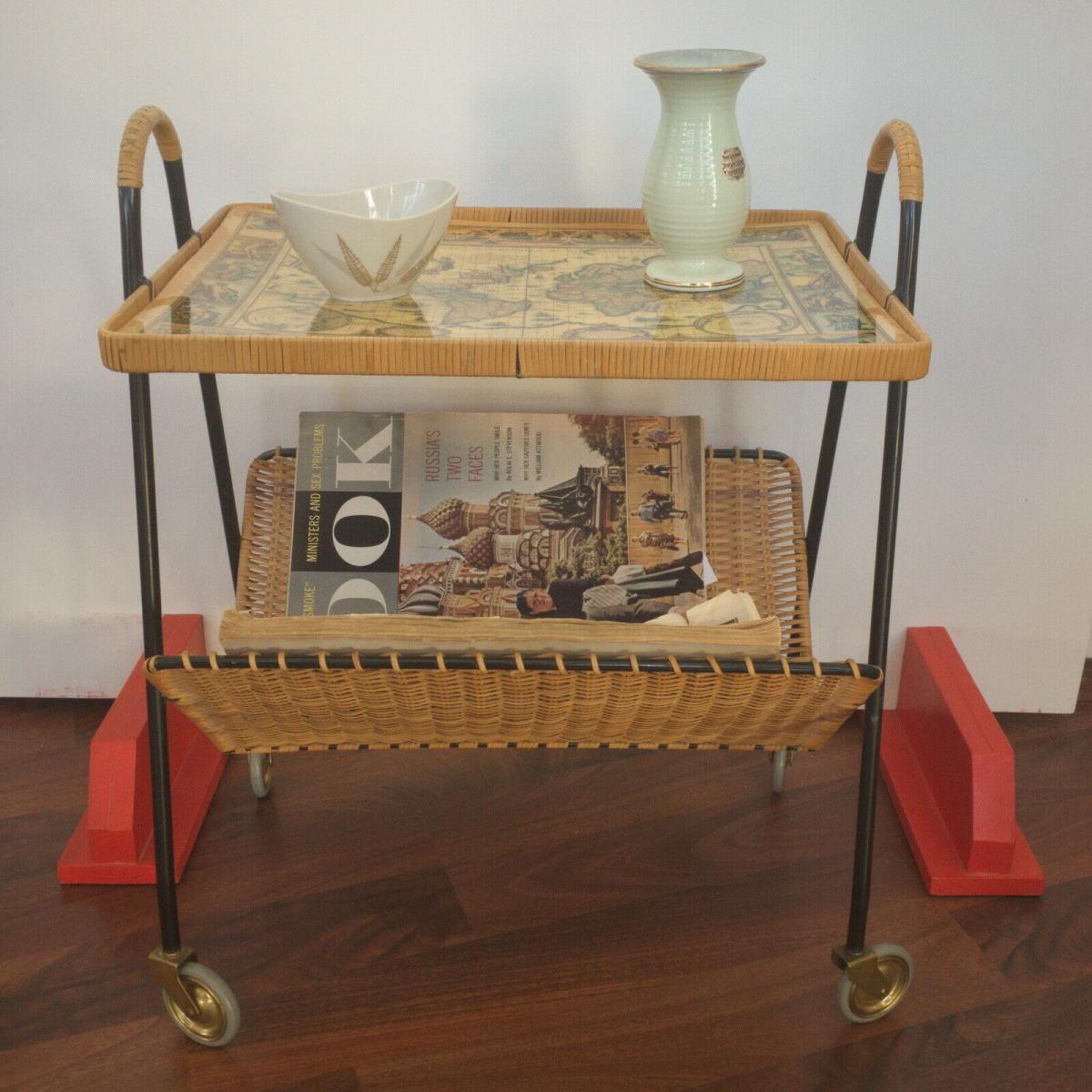 Vintage teewagen beistelltisch mit zeitungsständer string stil 60er jahre 0