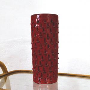 Röhrenvase Vase Erdbeer FRATELLI FANCIULLACCI Alla Moda 411/A Rot 60er Jahre