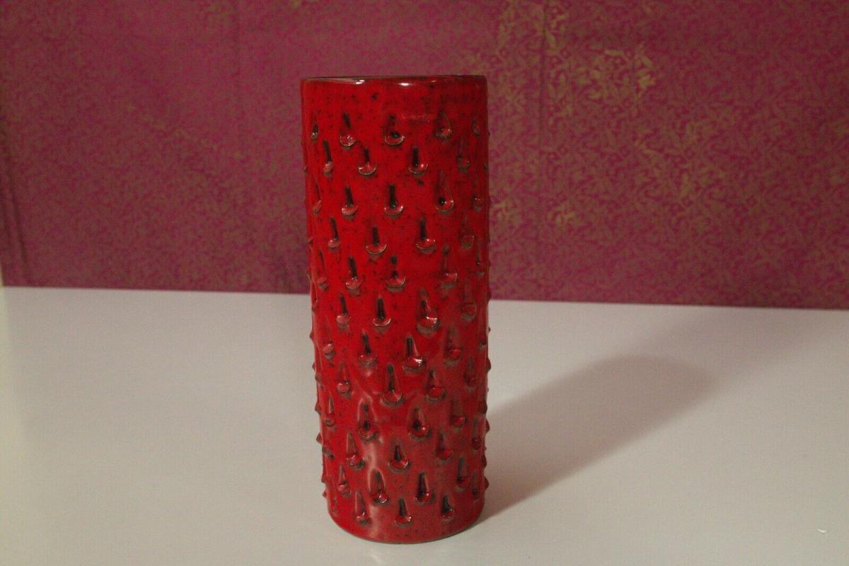 Röhrenvase Vase Erdbeer FRATELLI FANCIULLACCI Alla Moda 411/A Rot 60er Jahre 1