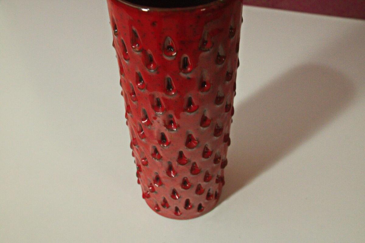 Röhrenvase Vase Erdbeer FRATELLI FANCIULLACCI Alla Moda 411/A Rot 60er Jahre 2