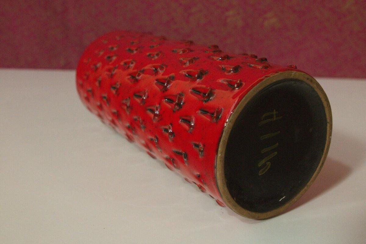 Röhrenvase Vase Erdbeer FRATELLI FANCIULLACCI Alla Moda 411/A Rot 60er Jahre 6