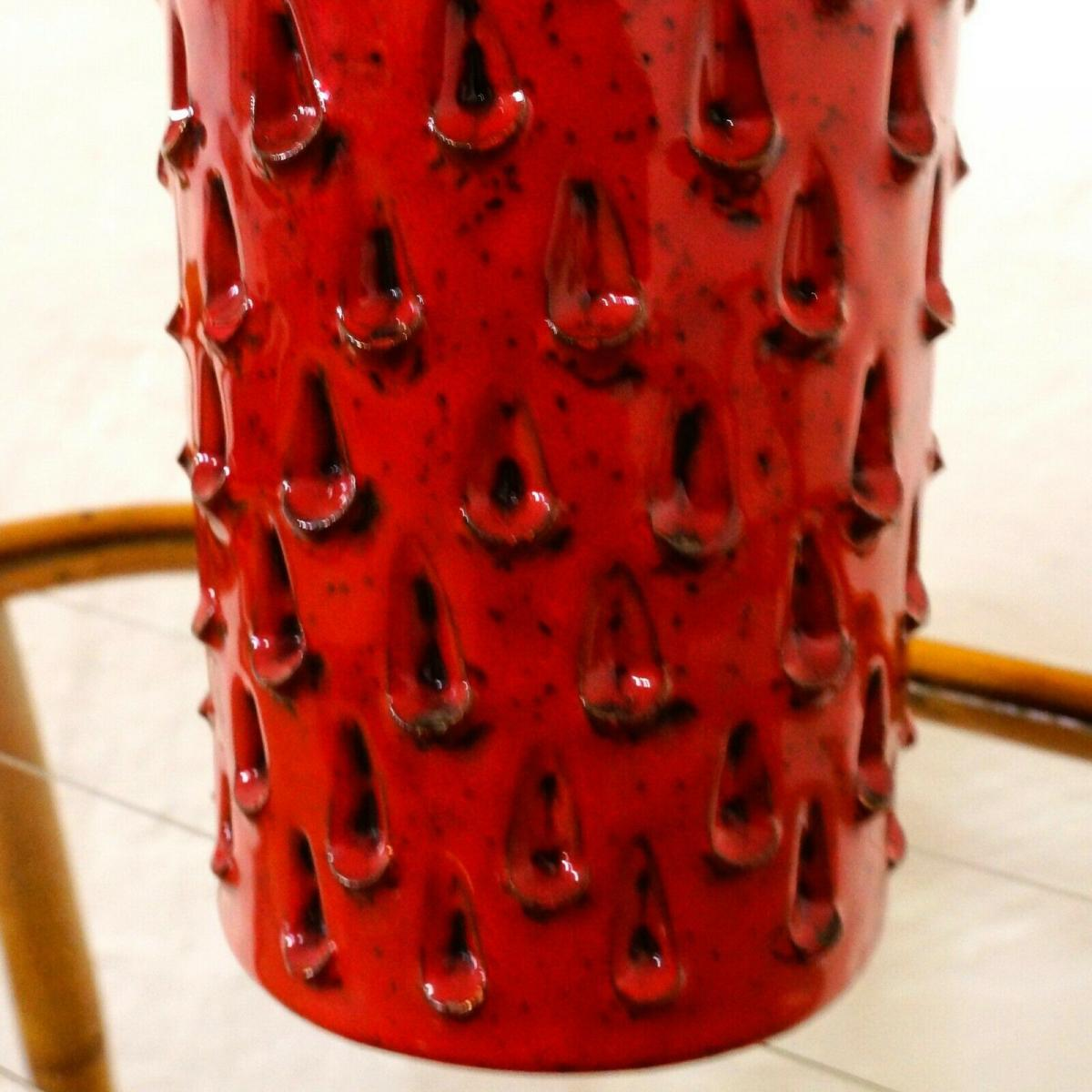 Röhrenvase Vase Erdbeer FRATELLI FANCIULLACCI Alla Moda 411/A Rot 60er Jahre 8