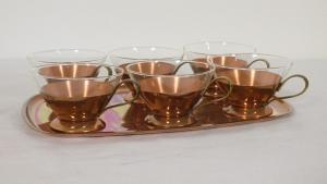 6 Schott Teegläser mit Kupfer Tablett feuerfest Midcentury Set 60er Jahre