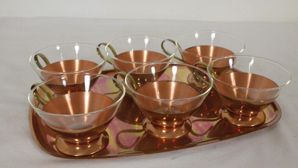 6 Schott Teegläser mit Kupfer Tablett feuerfest Midcentury Set 60er Jahre 1