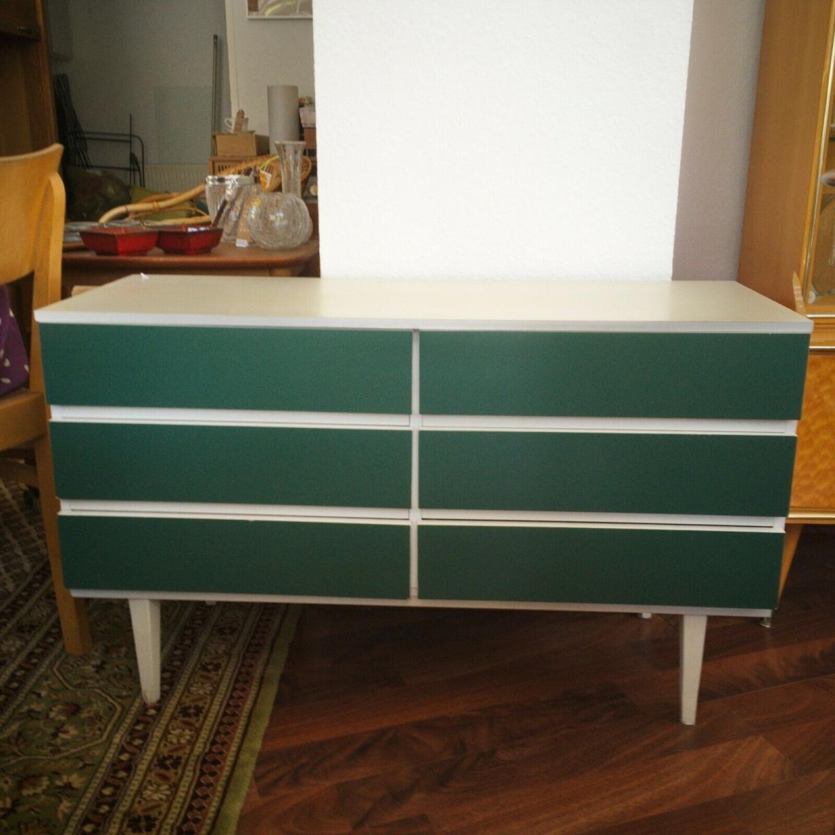 POP ART Kommode 6 Schubladen weiss grün Sideboard LOWBOARD 60er 70er Jahre 0