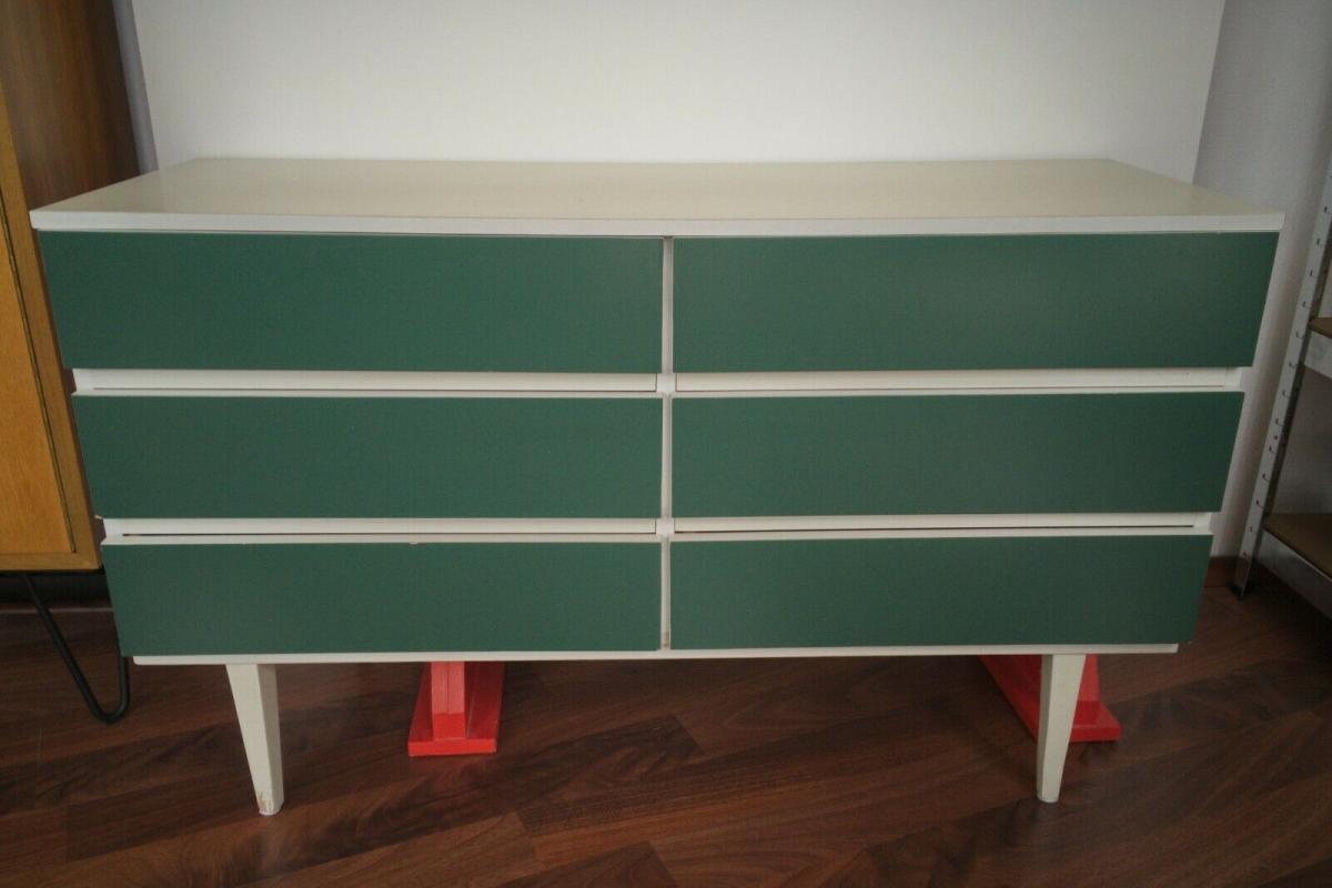 POP ART Kommode 6 Schubladen weiss grün Sideboard LOWBOARD 60er 70er Jahre 1