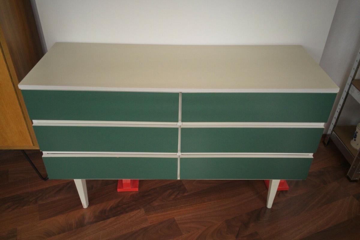 POP ART Kommode 6 Schubladen weiss grün Sideboard LOWBOARD 60er 70er Jahre 2