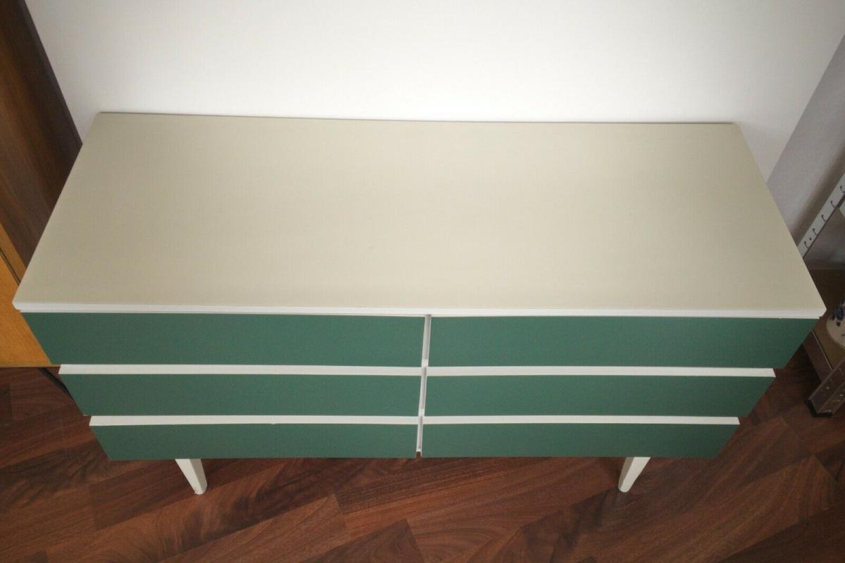 Pop art kommode 6 schubladen weiss grün sideboard lowboard 60er 70er jahre 3