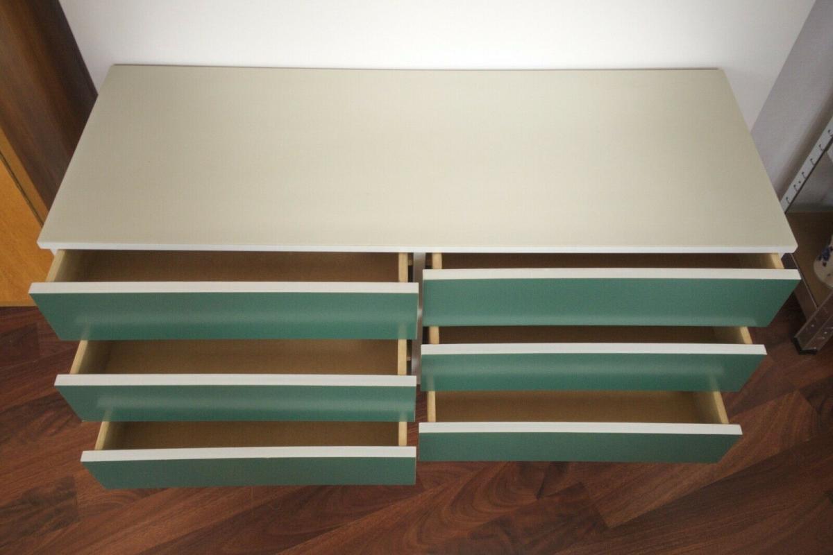 Pop art kommode 6 schubladen weiss grün sideboard lowboard 60er 70er jahre 4