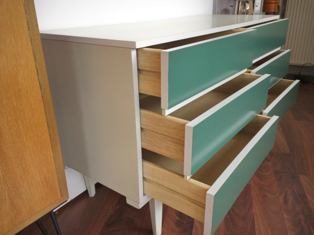 POP ART Kommode 6 Schubladen weiss grün Sideboard LOWBOARD 60er 70er Jahre 5