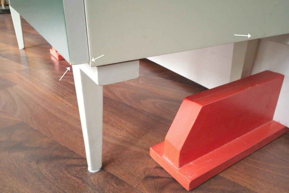 Pop art kommode 6 schubladen weiss grün sideboard lowboard 60er 70er jahre 8