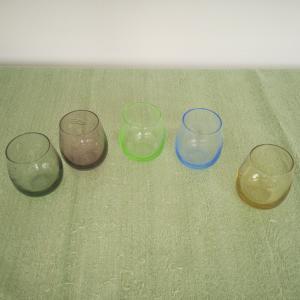5 Schnapsgläser Schnapsglas ÄHRE diverse FARBEN Vintage Glas garviert 60er Jahre