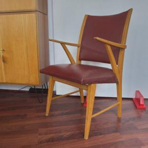 FRÖSCHER Möbel Vintage Stuhl Armlehnen Schreibtischstuhl Kunstleder Skai 50er #2