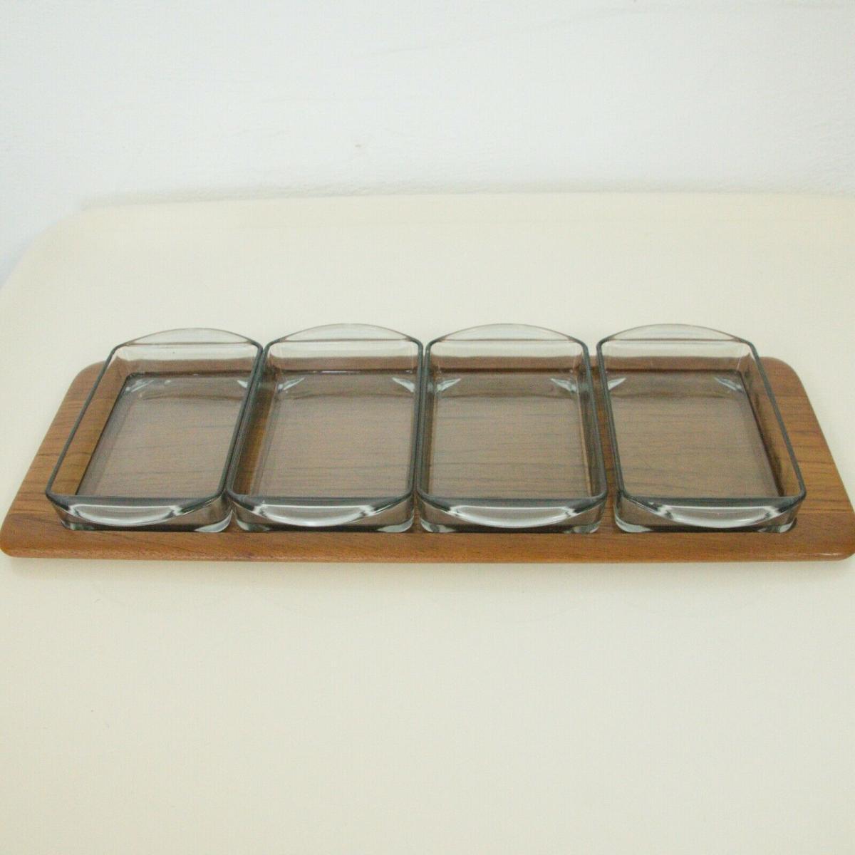 Digsmed denmark teak tablett mit 4 glasschalen dänemark modell 710 60er 1964 0