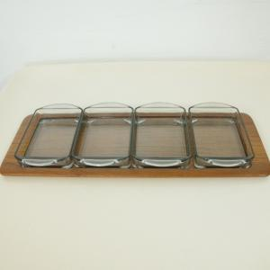 Teak Tablett mit 4 Glasschalen von DIGSMED Denmark Dänemark Modell 710 60er 1964