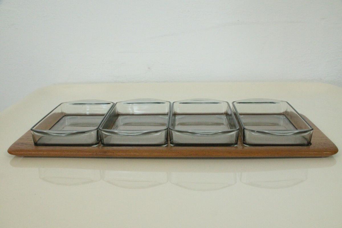 Digsmed denmark teak tablett mit 4 glasschalen dänemark modell 710 60er 1964 1