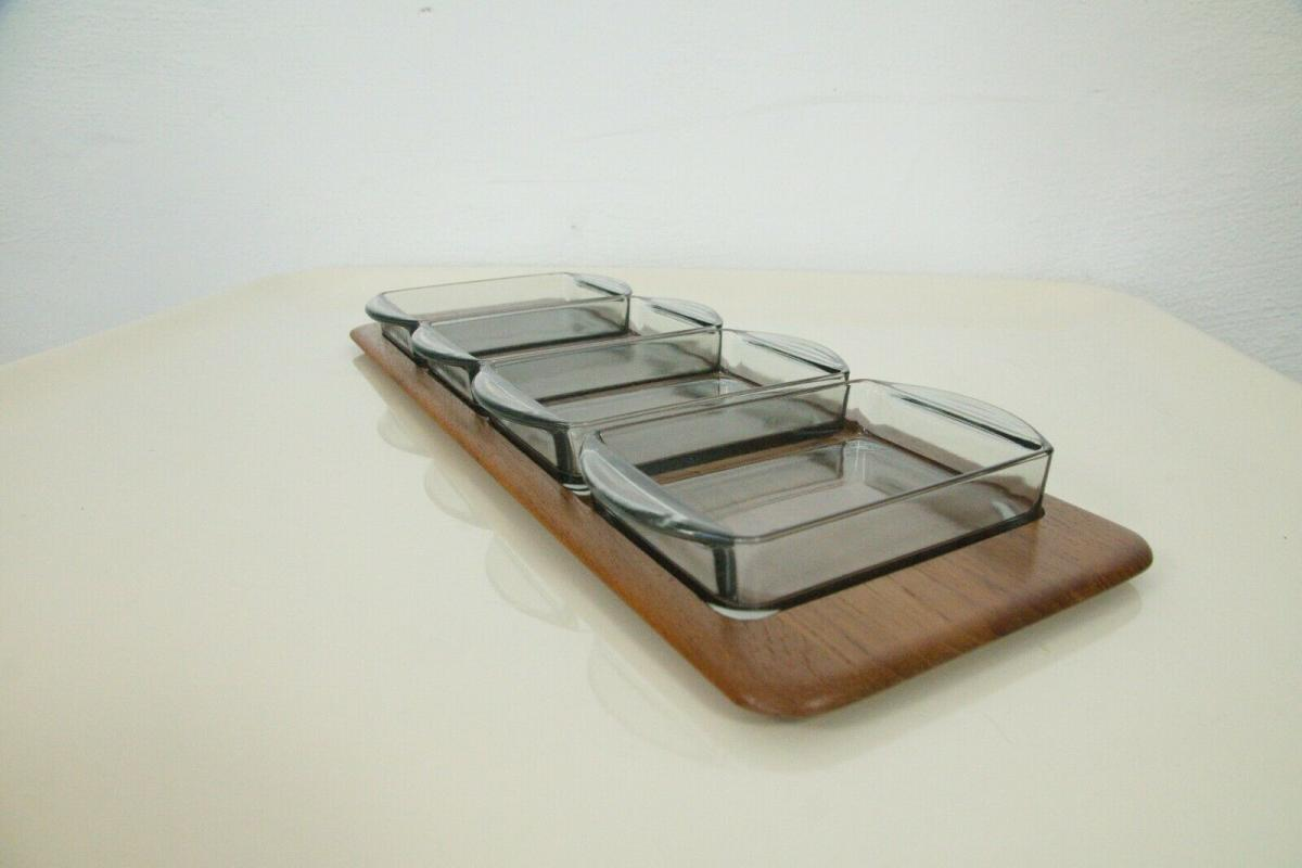 Digsmed denmark teak tablett mit 4 glasschalen dänemark modell 710 60er 1964 2