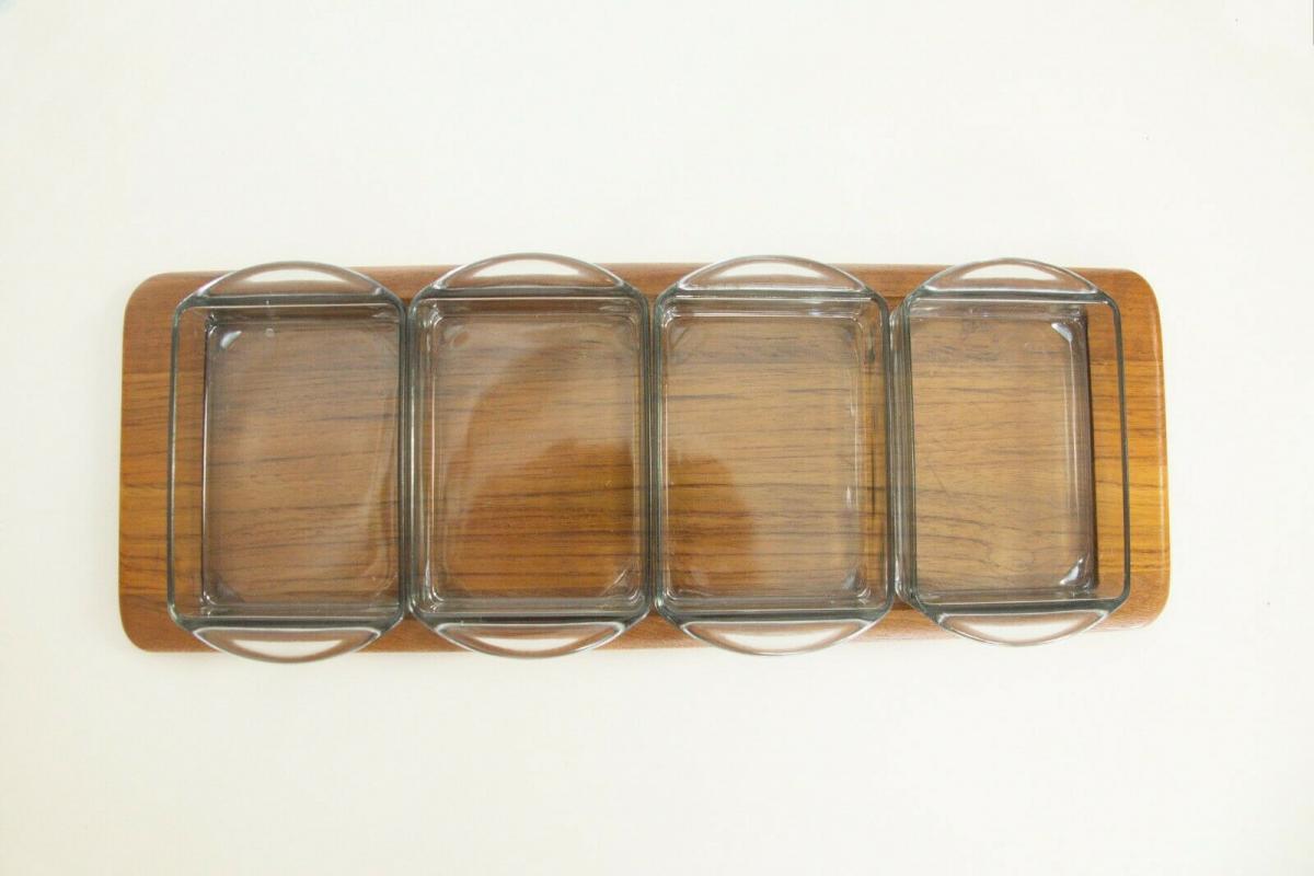 Digsmed denmark teak tablett mit 4 glasschalen dänemark modell 710 60er 1964 3