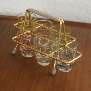 Set 6 Schnapsgläser im Gestell verschiedene Farben 50er, 60er Jahre Vintage