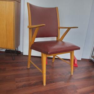 FRÖSCHER Möbel Saalstuhl Stuhl Sessel Skai Kunstleder aus Rathaus 50er Jahre #1