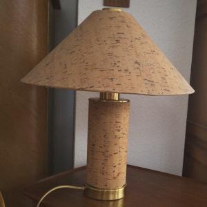 Vintage Tischlampe mit Kork Druck Lampe Pilz Form 60er Jahre
