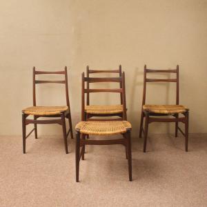 4er Set Teakstühle Teak Stuhl Georg Leowald für Wilkhahn Midcentury 50er 60er