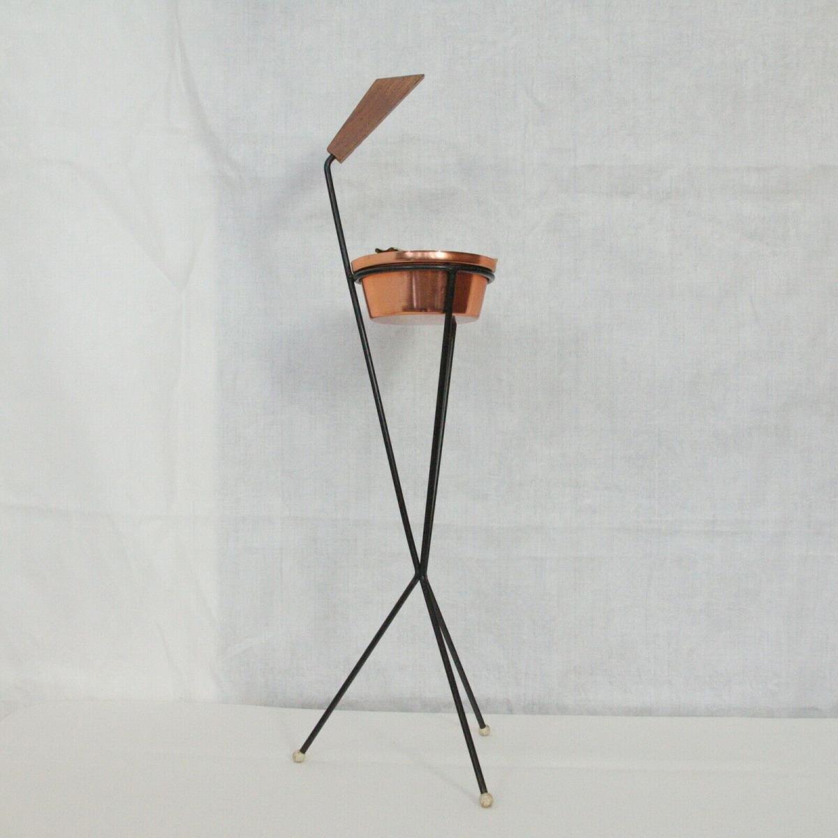 Vintage Standascher Aschenbecher Ash Tray im String Stil Kupfer 50er 60er Jahre 0