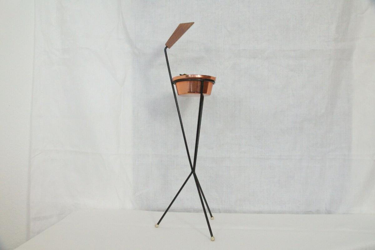 Vintage Standascher Aschenbecher Ash Tray im String Stil Kupfer 50er 60er Jahre 1