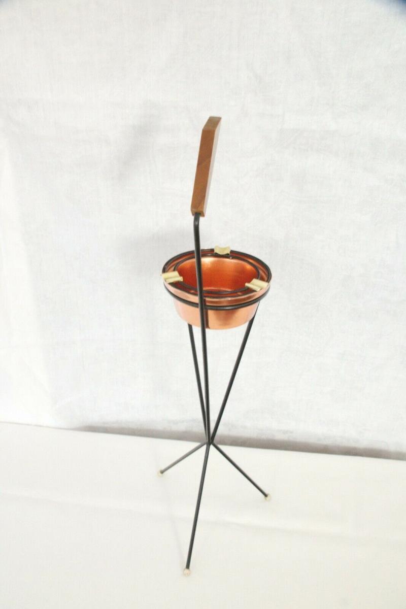 Vintage Standascher Aschenbecher Ash Tray im String Stil Kupfer 50er 60er Jahre 11