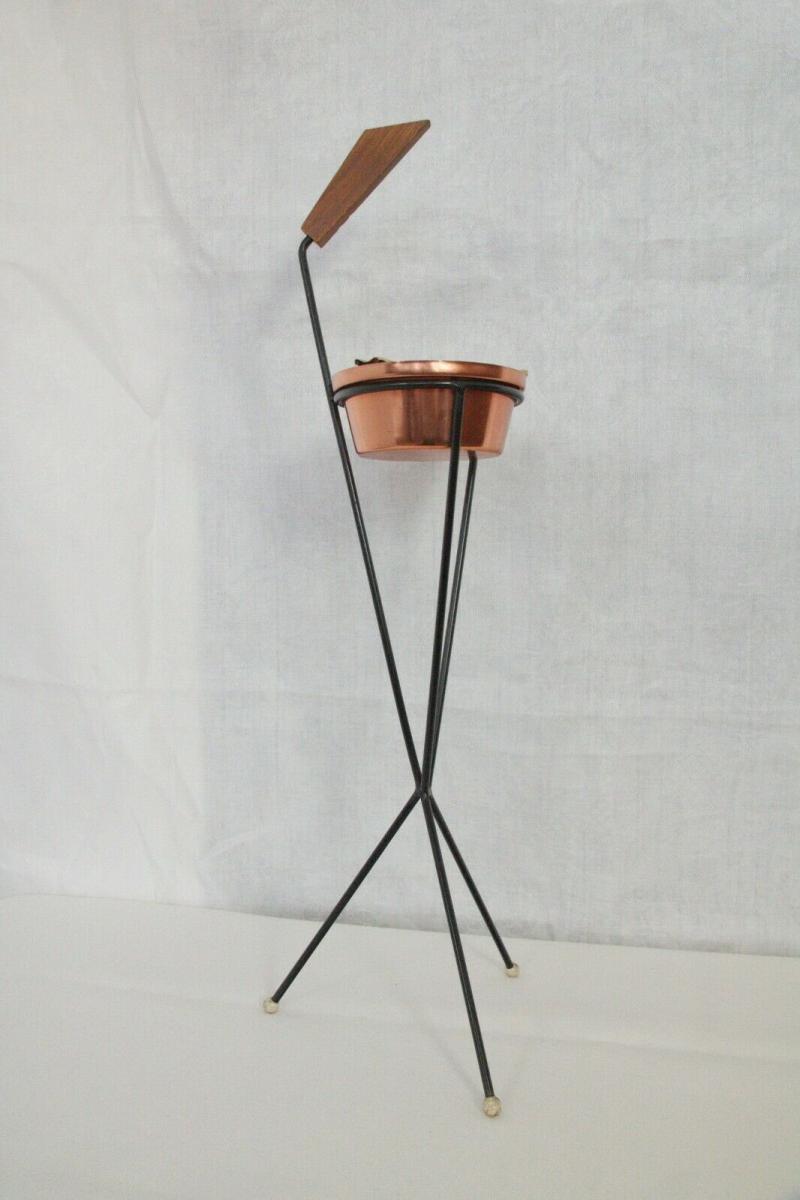 Vintage Standascher Aschenbecher Ash Tray im String Stil Kupfer 50er 60er Jahre 2