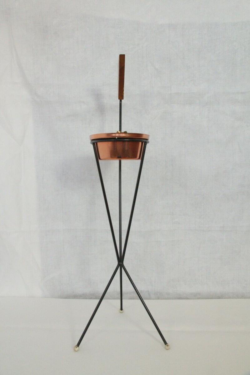 Vintage Standascher Aschenbecher Ash Tray im String Stil Kupfer 50er 60er Jahre 3