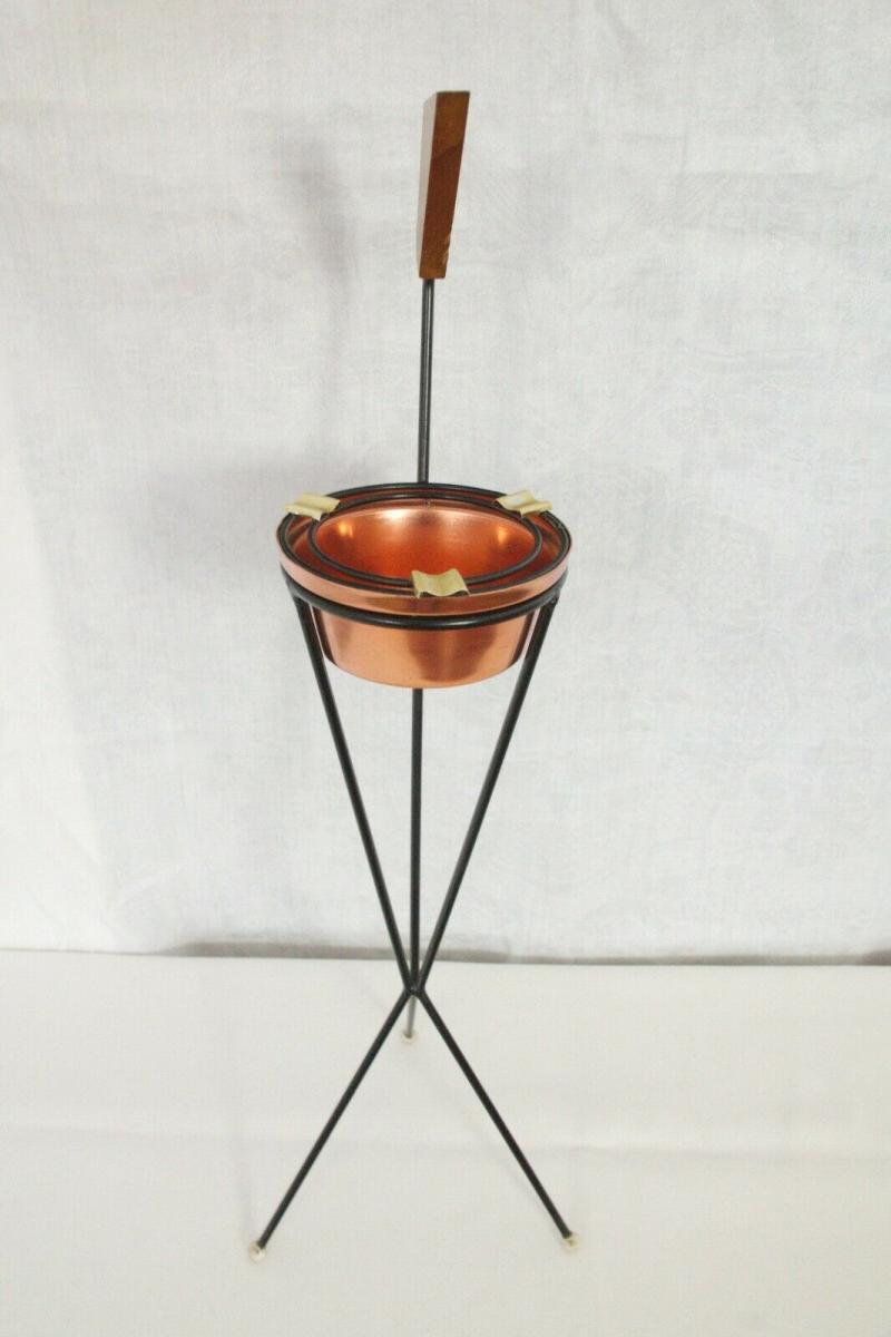 Vintage Standascher Aschenbecher Ash Tray im String Stil Kupfer 50er 60er Jahre 4