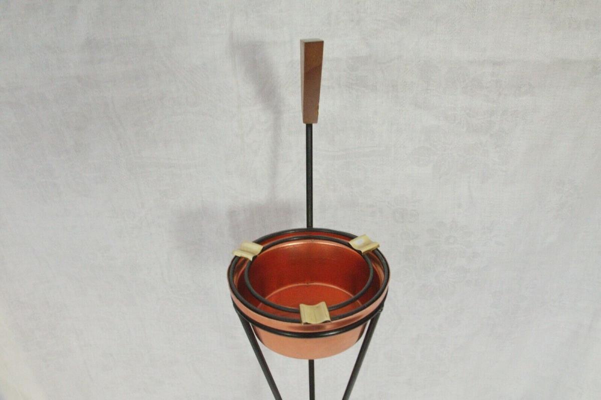 Vintage Standascher Aschenbecher Ash Tray im String Stil Kupfer 50er 60er Jahre 5