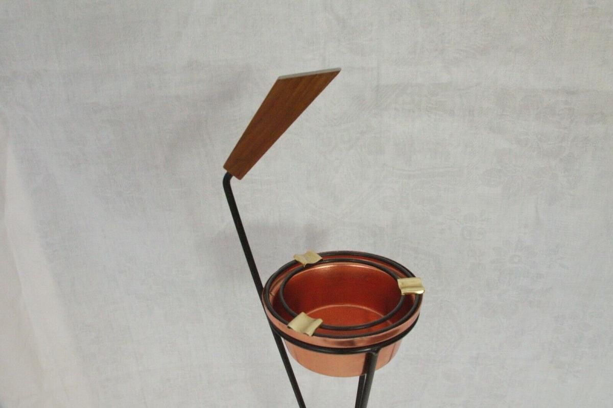 Vintage Standascher Aschenbecher Ash Tray im String Stil Kupfer 50er 60er Jahre 6