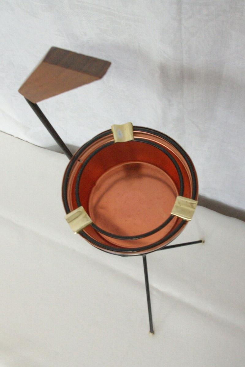 Vintage Standascher Aschenbecher Ash Tray im String Stil Kupfer 50er 60er Jahre 7