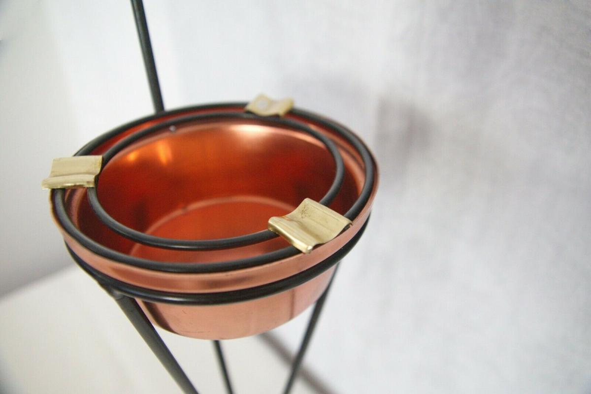 Vintage Standascher Aschenbecher Ash Tray im String Stil Kupfer 50er 60er Jahre 9