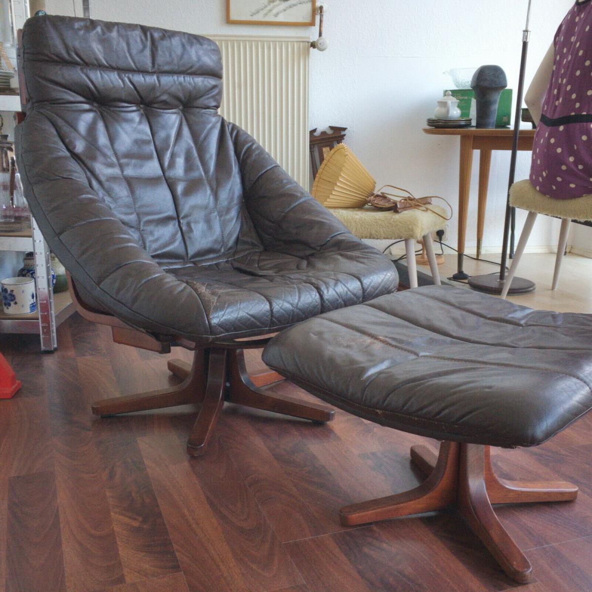 Mid Century Loungechair Ottomane Ledersessel teilrestauriert drehbar 60er 70er 0