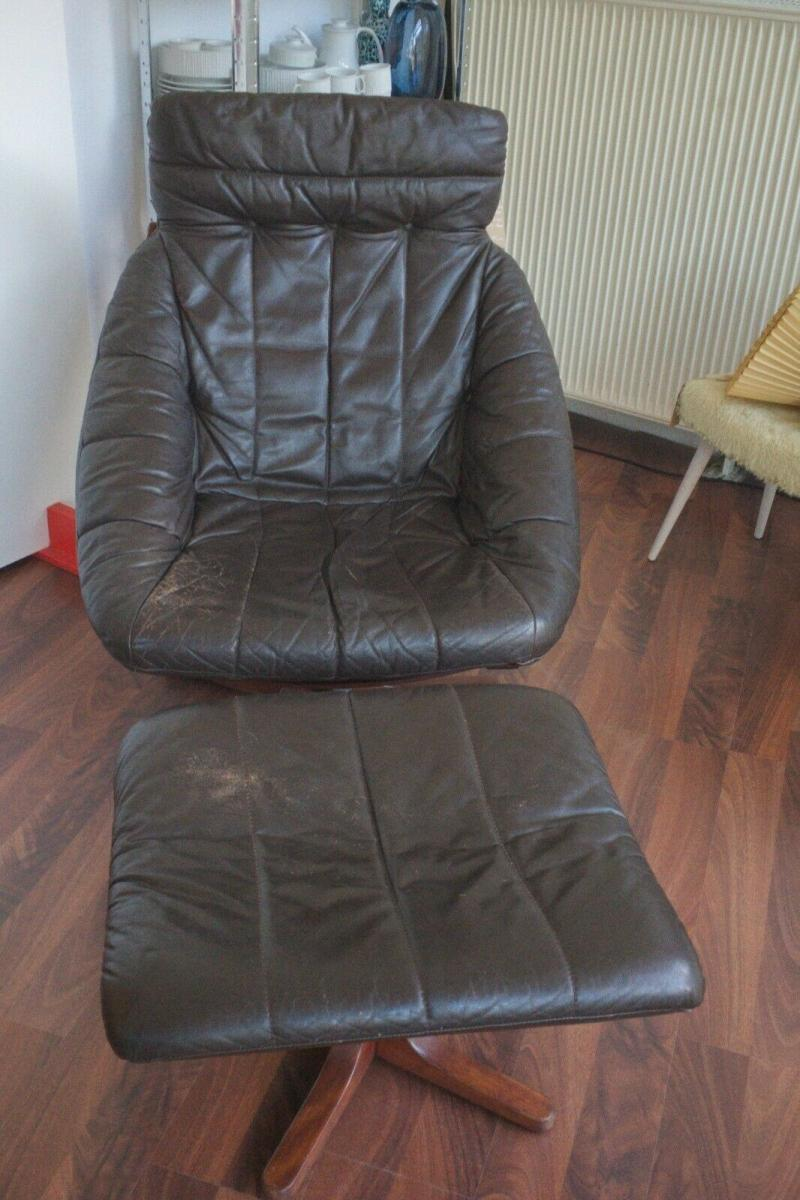Mid Century Loungechair Ottomane Ledersessel teilrestauriert drehbar 60er 70er 1