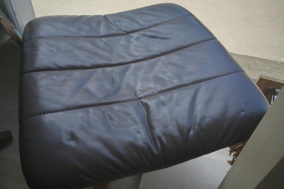 Mid Century Loungechair Ottomane Ledersessel teilrestauriert drehbar 60er 70er 11