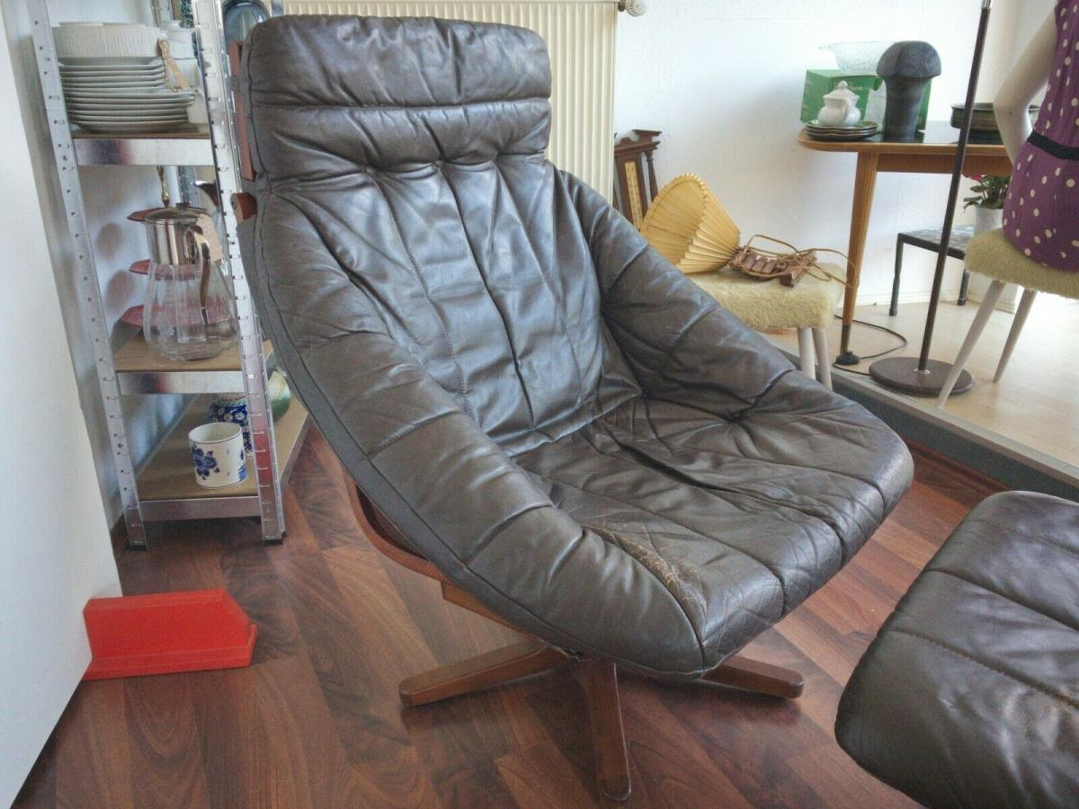 Mid Century Loungechair Ottomane Ledersessel teilrestauriert drehbar 60er 70er 2