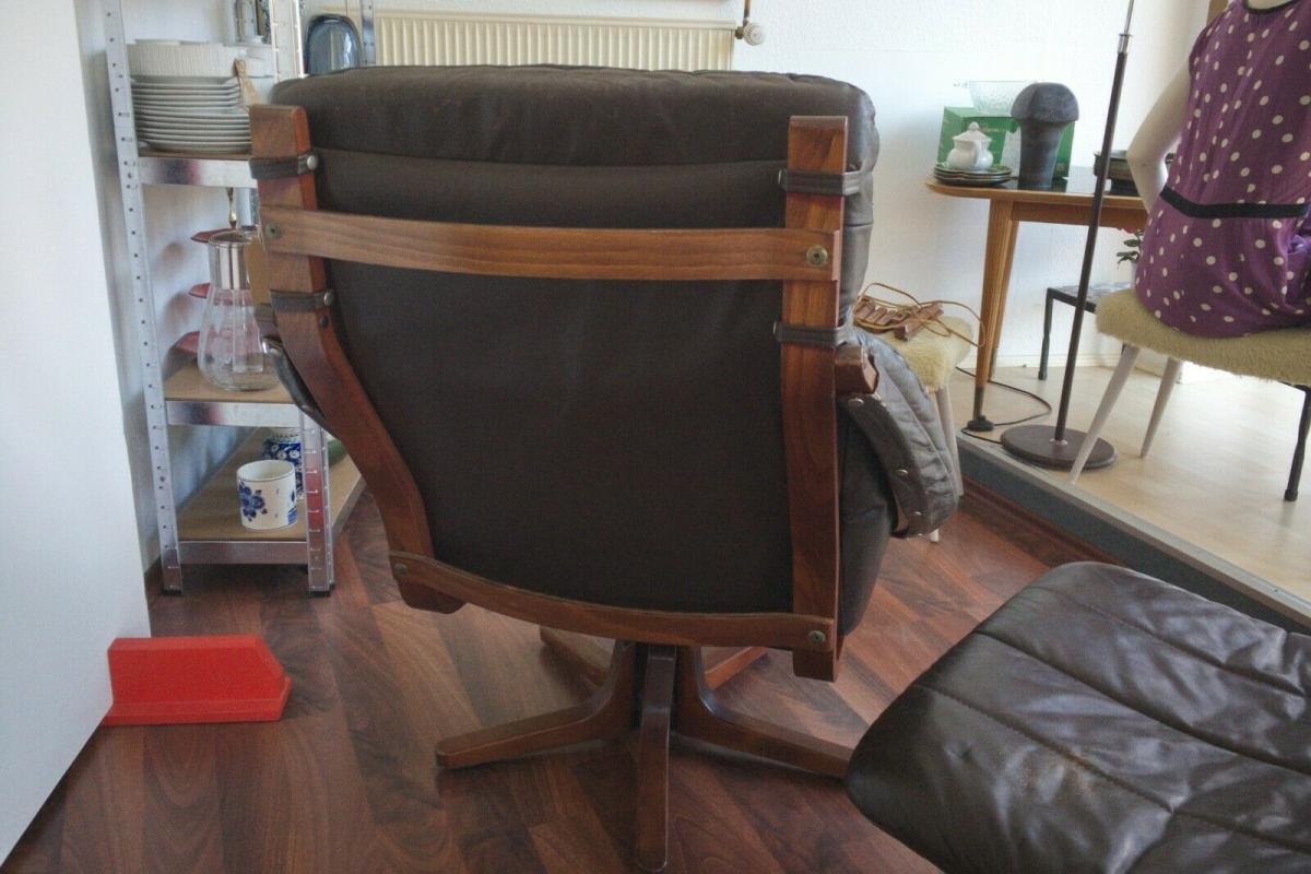 Mid Century Loungechair Ottomane Ledersessel teilrestauriert drehbar 60er 70er 3